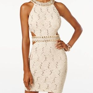 B Darlin Juniors Sequin Lace Cutout Dress Size 7/8